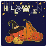 Smiling pumpkins,stars Stock Photos