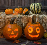 Smiling Pumpkins Royalty Free Stock Photo