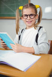 Smiling pupil reading book at her desk. Portrait of smiling pupil reading book at her desk in a classroom Stock Image