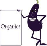 Smiling purple eggplant with arms and legs, eyes, plaque with the inscription Organics Stock Photo