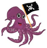 Happy octopus with flag vector illustration