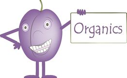 Smiling purple plum with arms and legs, eye light purple, the banner with the inscription Organics, healthy eating for children Royalty Free Stock Photography