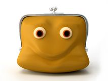 Smiling purse. On the white background Royalty Free Stock Image
