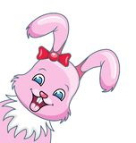 Smiling Rabbit Cartoon Girl, Beautiful Bunny, Happy Girling Isolated on White Background. Illustration Vector Royalty Free Stock Photography
