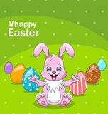 Smiling Rabbit Cartoon Girl with Eggs, Beautiful Bunny, Easter Background. Illustration Vector Royalty Free Stock Image