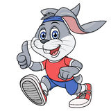 Smiling rabbit jogging 2. Illustration of the smiling rabbit jogging. White background Stock Photos