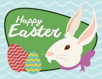 Smiling Rabbit's Head and Eggs in a Sign for Easter Holiday, Vector Illustration Royalty Free Stock Image
