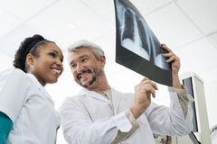 Smiling Radiologists Analyzing Chest X-ray In Examination Room Stock Image