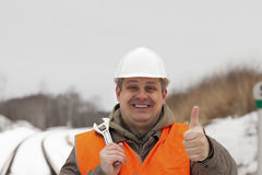Smiling railroad worker Stock Photo