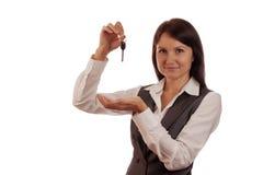 Real estate agent showing keys Stock Images
