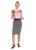 Smiling realtor with home for sale sign isolated Stock Images