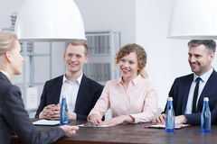Smiling recruiters during interview Stock Photos