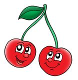 Smiling red cherries. Color illustration Royalty Free Stock Images