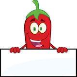 Smiling Red Chili Pepper Cartoon Character Over Blank Sign Stock Photography
