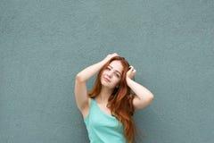 Smiling red hair girl stock image