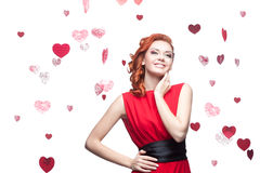 Smiling red-haired girl Stock Images