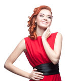 Smiling red-haired girl Royalty Free Stock Images