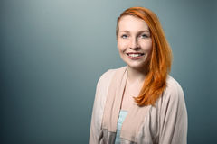 Smiling red haired  Woman Looking at Camera Royalty Free Stock Photos