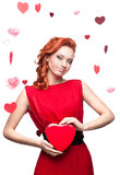 Smiling red-haired woman Stock Images