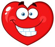 Smiling Red Heart Cartoon Emoji Face Character With Expression Stock Photo