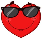 Smiling Red Heart Cartoon Emoji Face Character Wearing Sunglasses Stock Photo