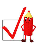 Smiling red pencil with a check box royalty free stock image