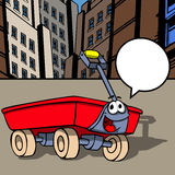 Smiling Red wagon with speech bubble Stock Images