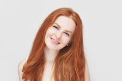 Smiling redhair girl wearing braces, cheerful portrait royalty free stock image
