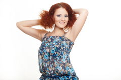 Smiling redhead ginger woman in summer dress Royalty Free Stock Images