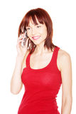 Smiling Redhead Talking On Phone Stock Image