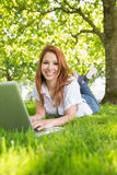 Smiling redhead using laptop in the park Royalty Free Stock Image
