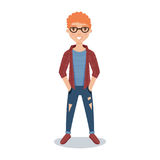 Smiling redheaded guy student in glasses, checkered shirt and ripped jeans cartoon character vector Illustration Royalty Free Stock Image