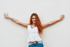 Smiling redheaded woman Royalty Free Stock Photos