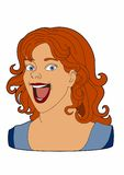Smiling redheaded woman. Woman face very cheerful, EPS 8 file Royalty Free Illustration