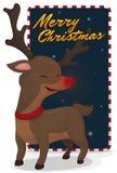 Smiling Reindeer Ready for Christmas Night Travel, Vector Illustration royalty free illustration