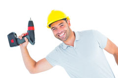 Smiling repairman holding power drill. Portrait of smiling repairman holding power drill on white background Royalty Free Stock Photography