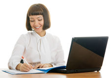 Smiling representative. Pretty girl, working in the office Stock Image