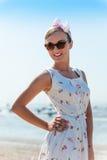 Happy Vintage beauty enjoying the beach Royalty Free Stock Photo