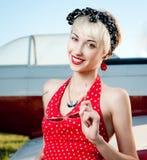 Smiling retro girl Royalty Free Stock Photo