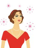 Smiling retro woman. Closeup of stylized retro woman vector illustration
