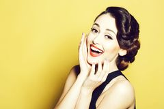 Smiling retro woman royalty free stock photo