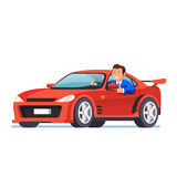 Smiling rich business man driving his red car. Rich business man driving his car, looking out the side window and showing thumb up gesture. Expensive red Stock Photography