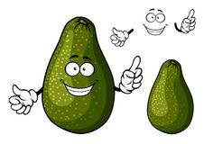 Smiling ripe green avocado fruit character Stock Images