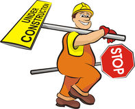 Smiling road worker -  under construction Royalty Free Stock Photos