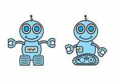 Smiling robots. An illustration of a pair of smiling blue robots on a white background stock illustration