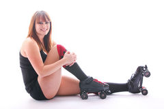 Smiling Roller Derby Girl. Smiling roller derby player on white background Royalty Free Stock Photography