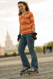 Smiling Rollerskating Girl Royalty Free Stock Image
