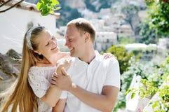 Smiling romantic couple in Positano, Italy - love concept Royalty Free Stock Photos