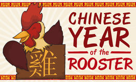 Smiling Rooster with Wooden Sign Celebrating Chinese New Year, Vector Illustration Royalty Free Stock Photos