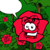 Smiling rose with speech bubble Stock Images